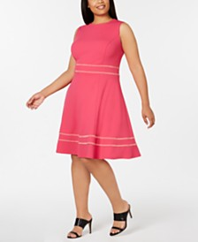 Calvin Klein Plus Size Embellished Fit & Flare Dress