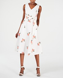 Calvin Klein Floral Embroidered Eyelet Fit & Flare Dress