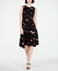 Calvin Klein Embroidered Eyelet Fit & Flare Dress