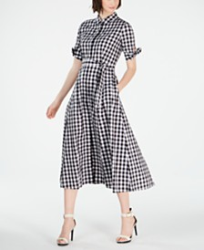 Calvin Klein Petite Gingham-Print Midi Dress