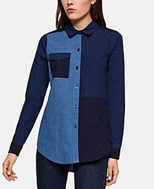 BCBGeneration Cotton Mixed Chambray Shirt