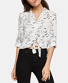 Seagulls-Print Tie-Front Rolled-Sleeve Blouse