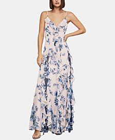 BCBG Floral-Print Chiffon Maxi Dress