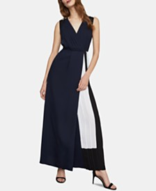 BCBGMAXAZRIA Faux-Wrap Colorblocked Jumpsuit