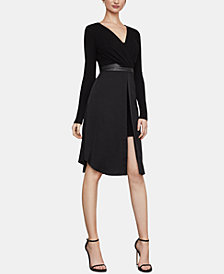 BCBGMAXAZRIA Belted Faux-Wrap Dress