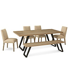 Clarita Dining Furniture, 6-Pc. Set (Table, 4 Side Chairs & Bench), Created for Macy's