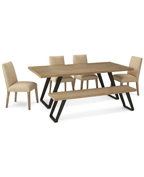 Furniture Clarita Dining Furniture, 6-Pc. Set (Table, 4 Side Chairs & Bench), Created for Macy's