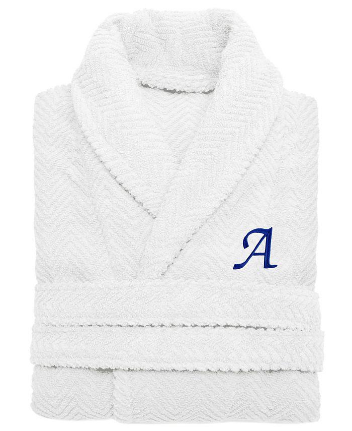 Linum Home - 100% Turkish Cotton Personalized Unisex Herringbone Bath Robe - White