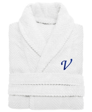 Linum Home 100% Turkish Cotton Personalized Unisex Herringbone Bath Robe -  White ... dd6a243fa