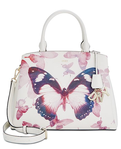 DKNY Paige Medium Leather Butterfly Satchel, Created for Macy's