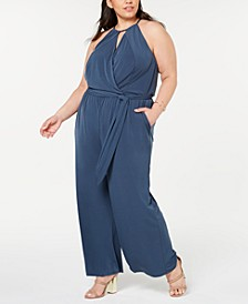 Trendy Plus Size Halter-Neck Faux-Wrap Jumpsuit