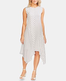 Vince Camuto Mixed-Print Handkerchief-Hem Dress