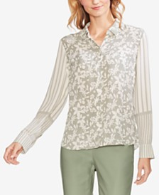 Vince Camuto Mixed-Print Blouse
