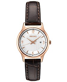 Women's Essential Brown Leather Strap Watch 28.7mm