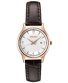 Seiko Women's Essential Brown Leather Strap Watch 28.7mm