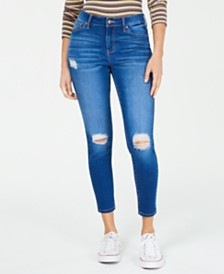 Celebrity Pink Juniors' Curvy Ripped Ankle Skinny Jeans