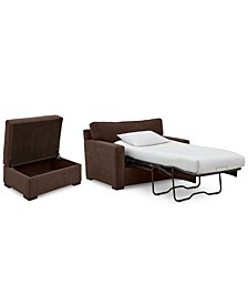 """Radley 54"""" Fabric Chair Bed & 36"""" Fabric Chair Bed Storage Ottoman Set, Created for Macy's"""