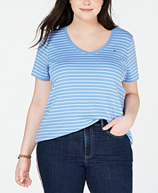 Plus Size Striped Cotton V-Neck T-Shirt, Created for Macy's