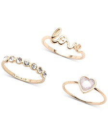 lonna & lilly Gold-Tone 3-Pc. Set Crystal Love-Motif Rings, Created for Macy's