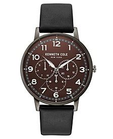 Men's Dress Sport Black Leather Strap Watch 42mm