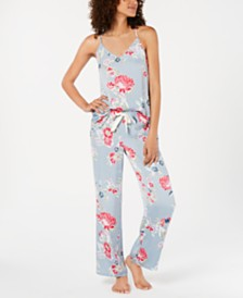 Josie By Natori Lotus Boutique Satin Tank and Pajama Pants Set