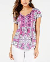 c147a15ee0a446 Style   Co Mixed-Print Crochet-Trim Top