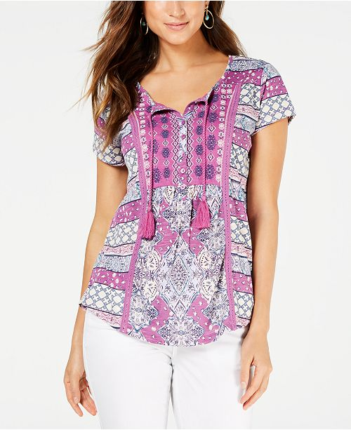 Style & Co Mixed-Print Crochet-Trim Top, Created for Macy's