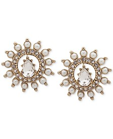 Marchesa Gold-Tone Crystal & Imitation Pearl Circle Button Earrings