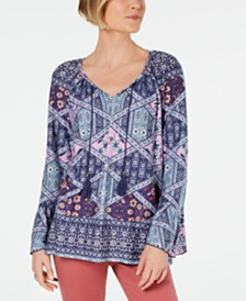 Style & Co Printed Tassel-Tie Ruffle-Cuff Top, Created for Macy's