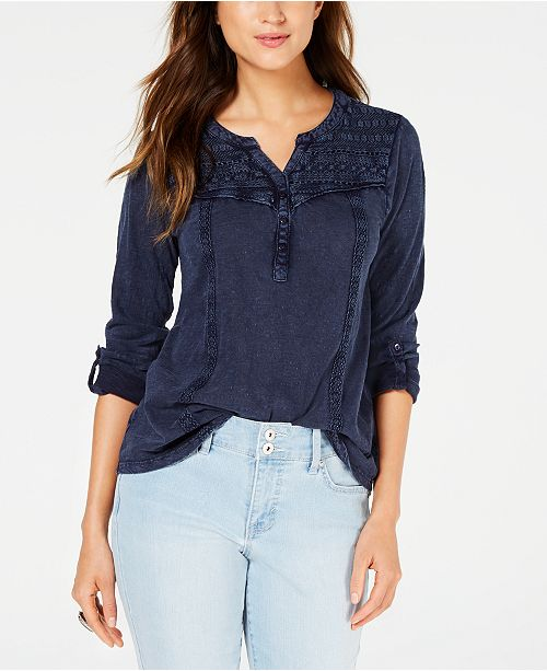 Style & Co Cotton Crochet-Trim Roll-Tab Top, Created for Macy's