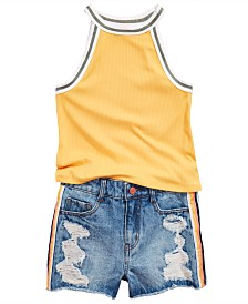 Epic Threads Big Girls Tank Top & Denim Shorts, Created for Macy's