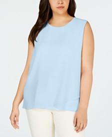 Calvin Klein Plus Size Sleeveless Asymmetric-Hem Top