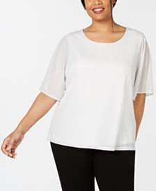 Calvin Klein Plus Size Striped Flutter-Sleeve Top