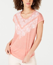 Style & Co Petite Dolman-Sleeve Graphic Top, Created for Macy's