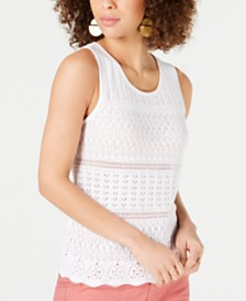 Style & Co Scallop-Hem Pointelle Sleeveless Sweater, Created for Macy's