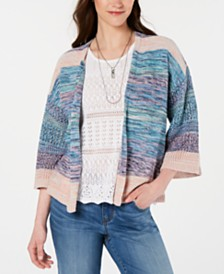 Style & Co Cotton Space-Dyed Cardigan, Created for Macy's