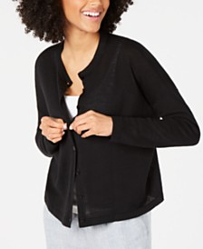 Eileen Fisher Organic Linen & Organic Cotton Button-Front Cardigan