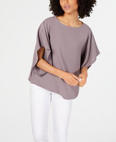Eileen Fisher Silk Bateau-Neck Kimono-Sleeve Top