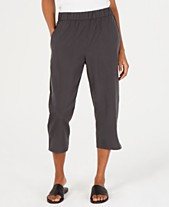 76d25b113fc Eileen Fisher Cropped Tencel® and Recycled Polyester Pull-On Pants