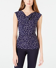 Anne Klein Printed Cowlneck Top
