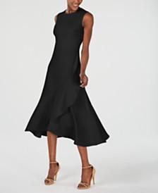 Calvin Klein Petite Flounce-Hem A-Line Midi Dress