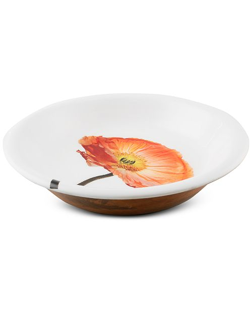 Thirstystone CLOSEOUT! Congo Sunset Poppy Wood and Enamel Serving Bowl