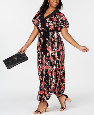 Finders | Plus & Petite Plus Size Surplice Printed Maxi Dress