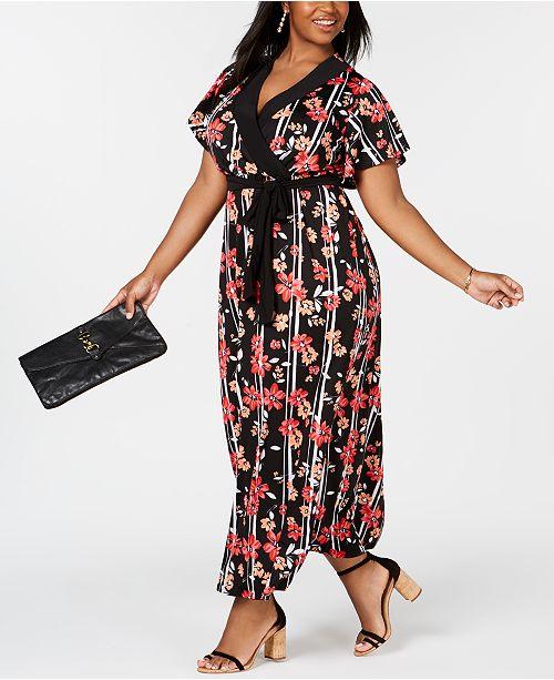 3172d9b90bc NY Collection Plus   Petite Plus Size Surplice Printed Maxi Dress ...