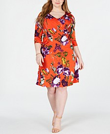 Plus & Petite Plus Size Surplice Printed Dress