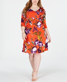 NY Collection Plus & Petite Plus Size Surplice Printed Dress
