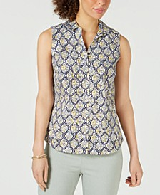 Petite Sleeveless Button-Up Shirt, Created for Macy's