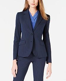 Anne Klein Striped Seersucker Two-Button Jacket
