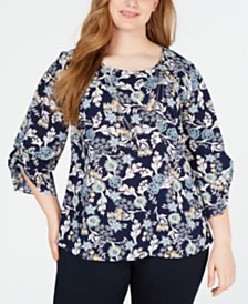 NY Collection Plus Size Smocked-Sleeve Necklace Top