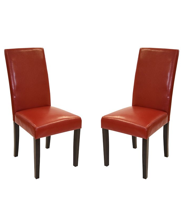 Armen Living - Leather Side Chair (Set of 2), Quick Ship